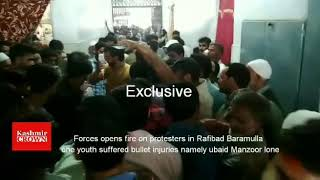 Forces  opens fire on protesters in Rafibad Baramulla