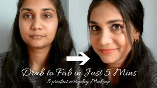 5 Products Everyday Office/College Makeup For Beginners | Lakme CC Cream Makeup Tutorialin Hindi