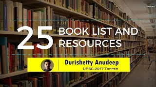 Anudeep Durishetty (AIR 1, IAS Topper 2017-18) | Booklist for UPSC CSE/ IAS Preparation