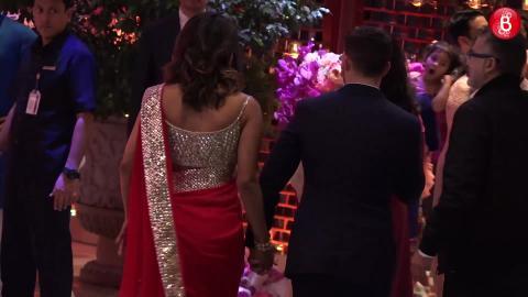 Priyanka Chopra arrives with Nick Jonas at Akash Ambani and Shloka Mehta's engagement ceremony.
