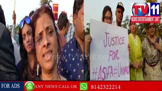 MULTIPLE ORGANISATIONS HOLD CANDLE MARCH AGANIST KATHUA GANGRAPE AT NECKLACEROAD|Tv11 News|13-04-18