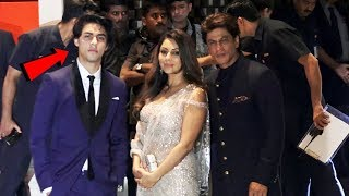 Shahrukh Khan With Wife Gauri And Son Aryan At Mukesh Ambani Son Akash Ambani's Engagement Ceremony