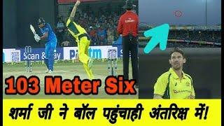 Ind Vs Aus 3rd Odi: Rohit Sharma Hits 103 Meters Long Six