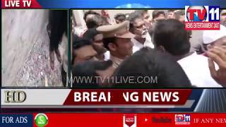 MIM PROTEST AGANIST BROKEN OF MIM STONE PLATE UNDER KULSUMPURA PS LIMITS | Tv11 News | 04-07-2018