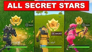 ALL SECRET BATTLE STAR LOCATIONS TILL WEEK 10 - FORTNITE SEASON 4 CHALLENGES FREE TIER