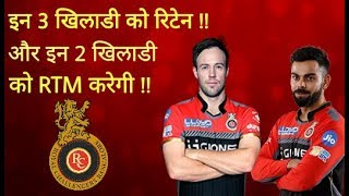 IPL2018: RCB will retain these three players and RTM(Right To Match)to these two players