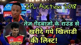 IPL Auction 2018 Live: List Of Sold And Unsold Pace Bowlers | Cricket News Today