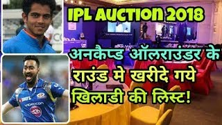 IPL Auction Live 2018: List Of Sold And Unsold Uncapped All-rounders | Cricket News Today