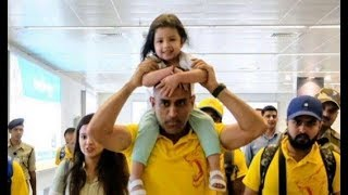 Ms Dhoni and her Daughter Ziva Dhoni at banglore airport with CSK team