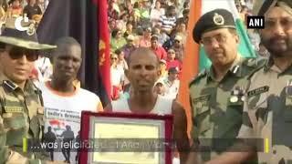 Ultra-Marathon runner Sameer Singh gets felicitated at Attari-Wagah border