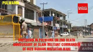PULWAMA OBSERVED SHUTDOWN ON 2ND DEATH ANNIVERSARY OF BURHAN MUZZAFAR WANI  (VIDEO : QAISAR MIR)