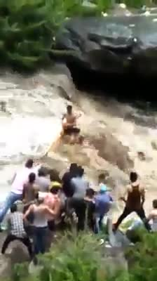 Those Three person who were caught in flood at Bhagsunag Waterfalls Mcleodganj were rescued safely