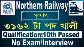 Railway Job 3162 Posts On Northern Railway II Qualification 10 Passed I No Exam&Interview!