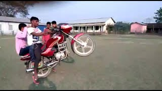 Funny video with Bike Hanging Up !!! At Panbari 2018