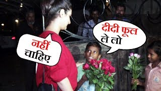 Fatima Sana Shaikh IGNORES Poor Children Asking For Buy Flowers At B blunt Juhu