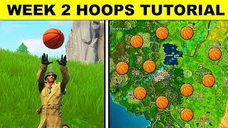 """Score a basket on different hoops"" Score Hoops Tutorial - Fortnite Season 5 Week 2 Challenges"