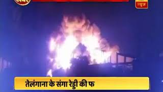 Massive fire broke out at a rubber factory in Telangana's Sangareddy