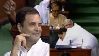 Rahul gandhi hugs Narendra Modi after his speech, thanks for teaching him Hinduism