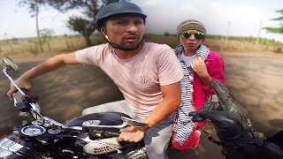 Russian Couple almost crashed on Royal Enfield ? | Foreigner Interactions