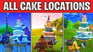 Fortnite BIRTHDAY CAKE LOCATIONS GUIDE! Dance In Front Of Different Birthday Cakes (All Cakes)