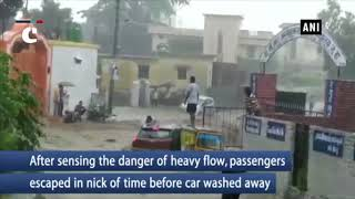 Watch: Commuters have narrow escape before flood washes away car in Uttarakhand's Haldwani city