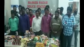 Raids On Pan Shops In Hyderabad By Habeeb Nagar Police And Seized illegal Gutkhas .