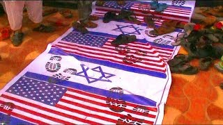 America And Israel Flags Burnt By DJS In Hyderabad Due declaration of Jerusalem as Israel's capital.