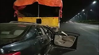 Road Accident Car Hits The Lorry At Shamshabad Outer Ring Road | @ SACH NEWS |