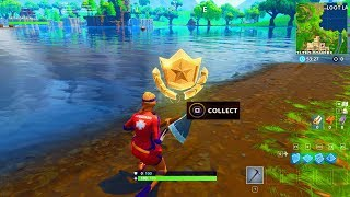 """""""Search between a Gas Station, Soccer Pitch and Stunt Mountain"""" BATTLE STAR WEEK 4 FORTNITE SEASON 5"""