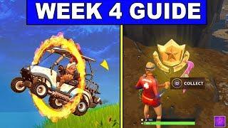 Fortnite WEEK 4 CHALLENGES GUIDE – FLAMING HOOPS, Treasure MAP, BATTLE STAR (Battle Royale Season 5)