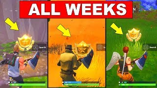ALL SECRET BATTLE STAR LOCATIONS TILL WEEK 4 - FORTNITE SEASON 5 CHALLENGES FREE TIER