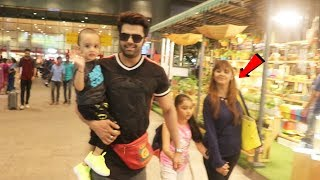 Manish Paul With Wife And Kids Spotted At Mumbai Airport