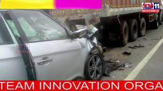 CAR HITS CONTAINER LORRY   2 DIED , 3 INJURED  AT NAYAMPUDI , VISAKHA