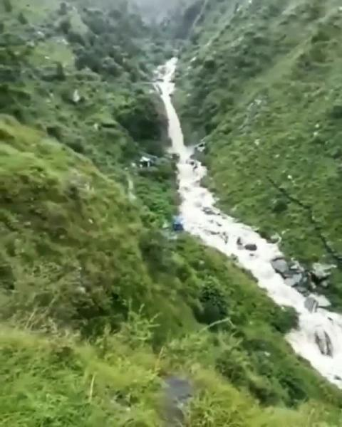 Yesterday's view from the Bhagsunag Waterfall in Dharamshala. Be careful folks, monsoon is here in full swing