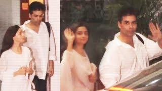 Karan Johar And Alia Bhatt Return From Delhi Spotted At Airport