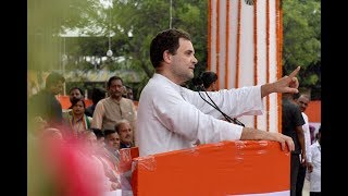 Congress President Rahul Gandhi addresses party workers in Raipur, Chhattisgarh