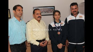 Dr Jitendra honours Shriya for bagging Bronze for India in Commonwealth Games