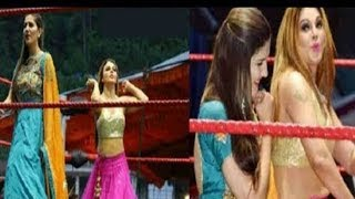 sapna chaudhary & rakhi sawant dance video in CWE Championship | JanSangathan Tv
