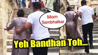 Salman Khan Takes Care Of His Mother While Climbing Steps In Malta | Bharat Shooting