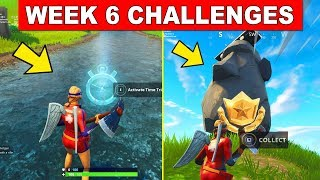ALL Week 6 CHALLENGES - Complete Timed Trials,Search where the Stone Heads are looking in Fortnite