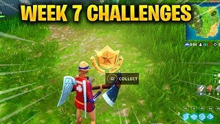 FORTNITE WEEK 7 CHALLENGES - Center of Named Locations & Treasure Map found in Pleasant Park