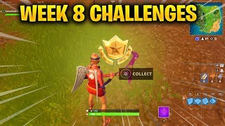FORTNITE WEEK 8 CHALLENGES - Search between three Oversized Seats Treasure Map & Stage 1