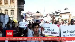 Protest demonstration by traders and other sections of society  in Tral :