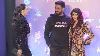 Abhishek Bachchan, Aishwarya Rai And Karishma Kapoor Arrive At Shweta Bachchan New Label Mxs Launch