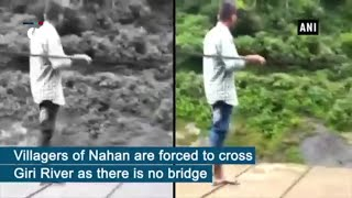 Villagers risk lives to cross river on cable in HP's Sirmaur