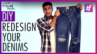 DIY - How to Turn Old Jeans to Distressed Pair of Denims | #fame School Of Style