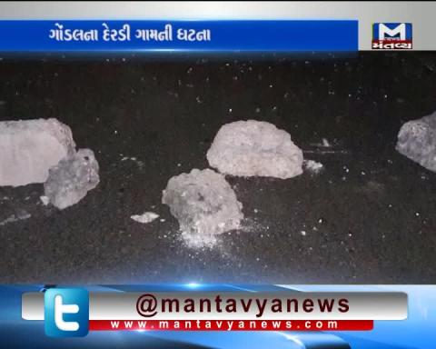 In Rajkot - 4 unknown people Break the front glass of an ST Bus
