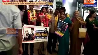 asian silver medalist grand welcome at shamshabad airport//HINDUTV LIVE//