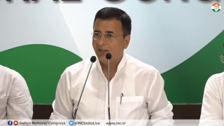 Jaitley-Mallya Meet and Rafale Scam: AICC Press Briefing By Randeep Singh Surjewala at Congress HQ