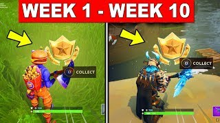 ALL SECRET BATTLE STAR LOCATIONS TILL WEEK 10 - FORTNITE SEASON 5 (ALL 10 SECRET BATTLE STAR )
